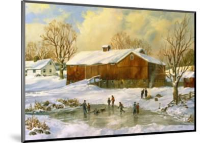 Children Skating at the Pond Behind the Barn-Jack Wemp-Mounted Giclee Print
