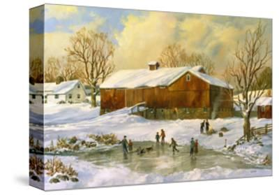 Children Skating at the Pond Behind the Barn-Jack Wemp-Stretched Canvas Print