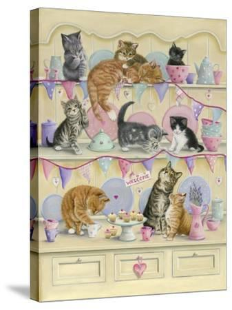Kittens on Dresser-Janet Pidoux-Stretched Canvas Print