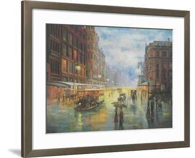 Rainy Night - Collins St. Melbourne-John Bradley-Framed Giclee Print