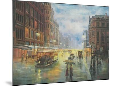 Rainy Night - Collins St. Melbourne-John Bradley-Mounted Giclee Print