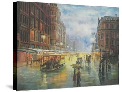 Rainy Night - Collins St. Melbourne-John Bradley-Stretched Canvas Print
