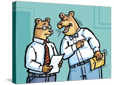 Office Bears-Jerry Gonzalez-Stretched Canvas Print