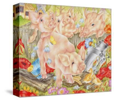 Piggy in the Middle-Karen Middleton-Stretched Canvas Print