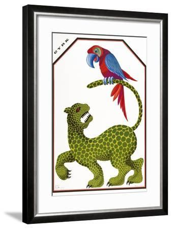 Cyrk - Leopard and Parrot-Marcus Jules-Framed Giclee Print