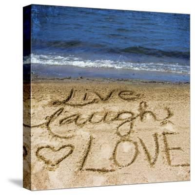 Live Laugh Love in the Sand-Kimberly Glover-Stretched Canvas Print