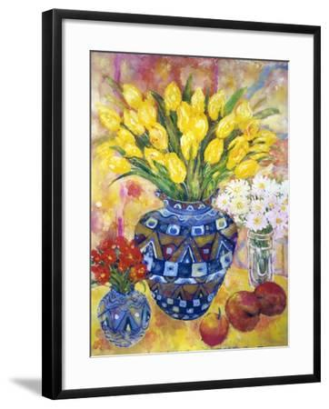 Yellow Tulips in a Blue and Gold Pot-Lorraine Platt-Framed Giclee Print