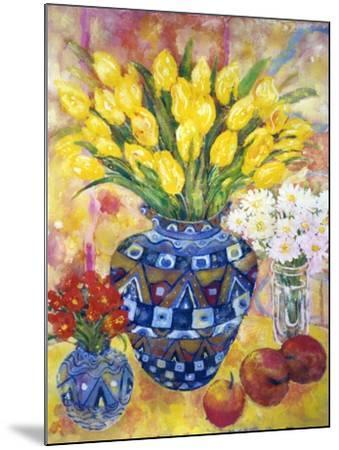 Yellow Tulips in a Blue and Gold Pot-Lorraine Platt-Mounted Giclee Print