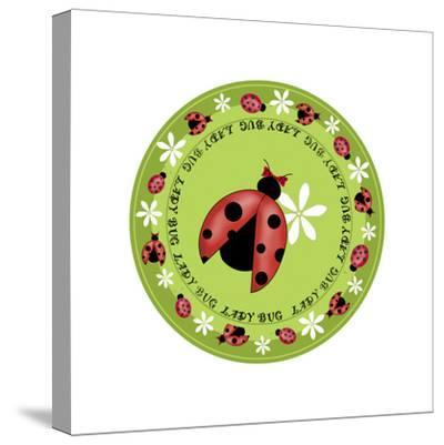Round Lady Bug-Maria Trad-Stretched Canvas Print