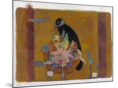 Black Bird on Bronzed Flower 10-Maria Pietri Lalor-Mounted Giclee Print