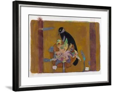 Black Bird on Bronzed Flower 10-Maria Pietri Lalor-Framed Giclee Print