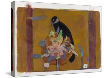 Black Bird on Bronzed Flower 10-Maria Pietri Lalor-Stretched Canvas Print