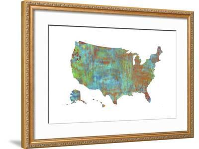 U.S.A. Map 3-Marlene Watson-Framed Giclee Print