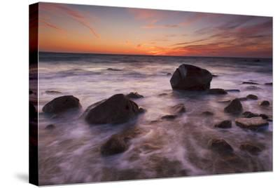Rocks on Silky Water-Michael Blanchette-Stretched Canvas Print