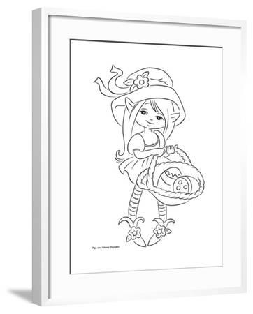 Fairy with a basket-Olga And Alexey Drozdov-Framed Giclee Print