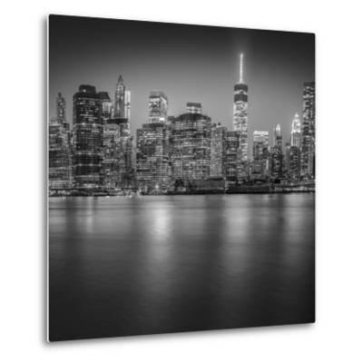 Manhattan Skyline Night-Edit-3-Moises Levy-Metal Print