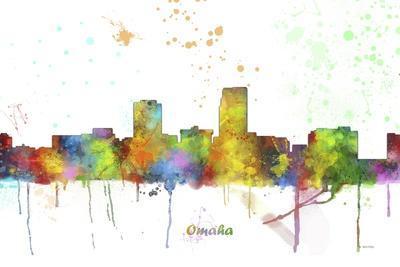 Omaha Nebraska Skyline MCLR 1-Marlene Watson-Framed Giclee Print