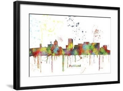 Portland Oregon Skyline MCLR 1-Marlene Watson-Framed Giclee Print
