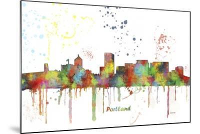 Portland Oregon Skyline MCLR 1-Marlene Watson-Mounted Giclee Print