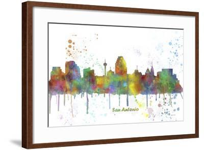 San Antonio Texas Skyline MCLR 1-Marlene Watson-Framed Giclee Print