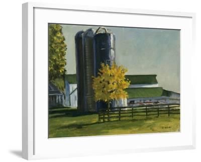 Silos by a Farm-Michael Budden-Framed Giclee Print