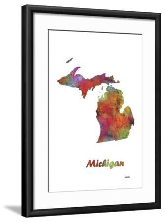 Michigan State Map 1-Marlene Watson-Framed Giclee Print
