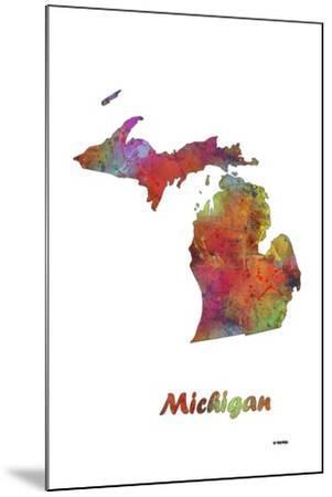 Michigan State Map 1-Marlene Watson-Mounted Giclee Print