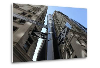 NYC Lower Broadway Looking Up-Robert Goldwitz-Metal Print