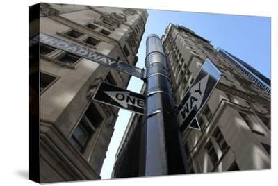 NYC Lower Broadway Looking Up-Robert Goldwitz-Stretched Canvas Print