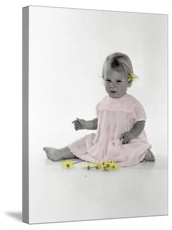 Little Girl Sitting with Flower Tucked Behind Her Ear-Nora Hernandez-Stretched Canvas Print