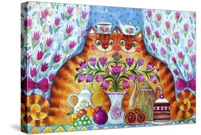 Tea Cats-Oxana Zaika-Stretched Canvas Print