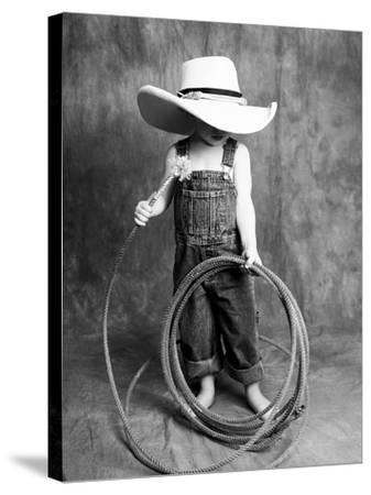 Boy with a Cowboy Hat and Lasso-Nora Hernandez-Stretched Canvas Print