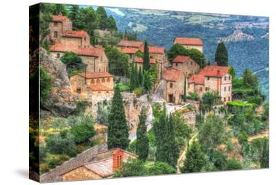 Tuscan Hilltop Town-Robert Goldwitz-Stretched Canvas Print