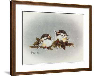 Chickadees and Holly-Peggy Harris-Framed Giclee Print