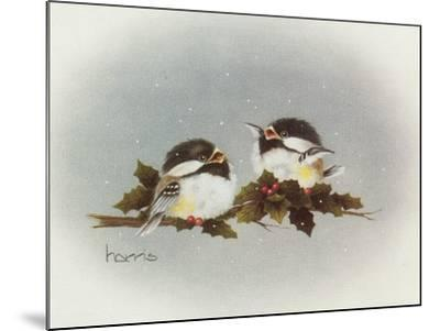 Chickadees and Holly-Peggy Harris-Mounted Giclee Print