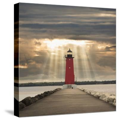 Manistique Lighthouse and Sunbeams, Manistique, Michigan '14-Monte Nagler-Stretched Canvas Print