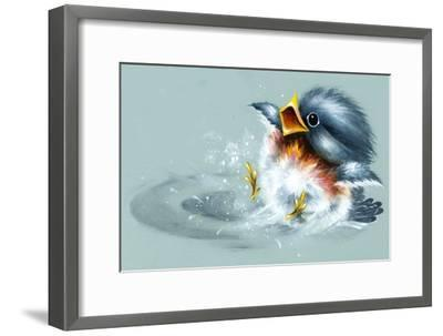 April Showers - Bird Puddle-Peggy Harris-Framed Giclee Print