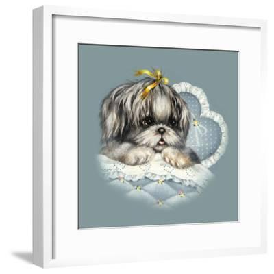 Blue Puppy Box Top-Peggy Harris-Framed Giclee Print