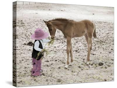 Child in Western Wear Feeding a Pony-Nora Hernandez-Stretched Canvas Print