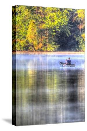 Canoe on the Lake Vertical-Robert Goldwitz-Stretched Canvas Print