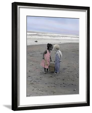 Boy and Girl Holding Picnic Basket Looking at Each Other-Nora Hernandez-Framed Giclee Print
