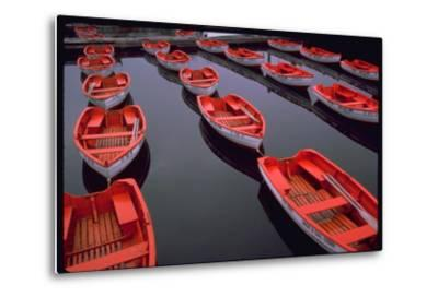 City Island Red Row Boats-Robert Goldwitz-Metal Print