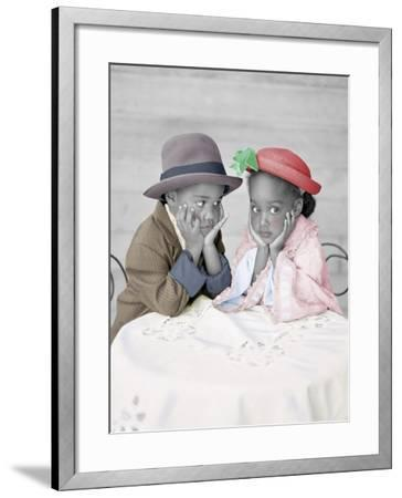 Boy and Girl Sitting at Table with Head in Hands-Nora Hernandez-Framed Giclee Print