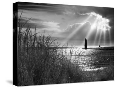 Frankfort Lighthouse and Sunbeams, Frankfort, Michigan '13-Monte Nagler-Stretched Canvas Print