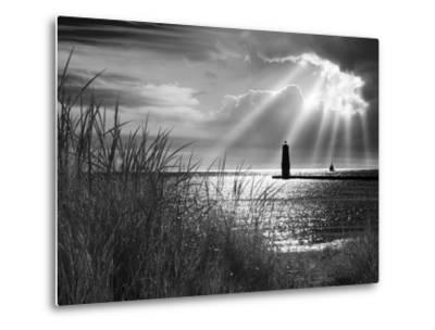 Frankfort Lighthouse and Sunbeams, Frankfort, Michigan '13-Monte Nagler-Metal Print
