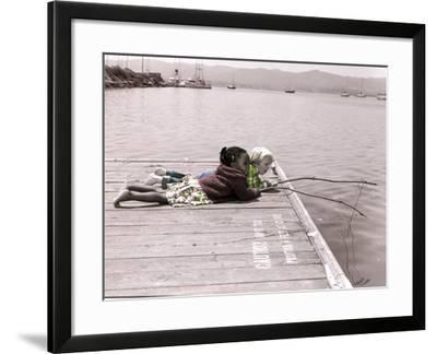 Boy and Girl Laying on Dock Fishing-Nora Hernandez-Framed Giclee Print
