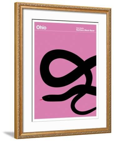 State Poster OH Ohio--Framed Giclee Print