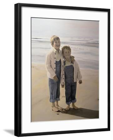 Two Boys on Beach-Nora Hernandez-Framed Giclee Print