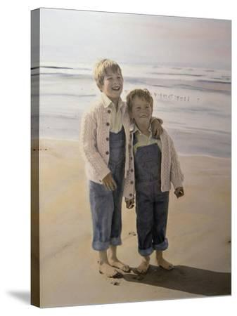 Two Boys on Beach-Nora Hernandez-Stretched Canvas Print