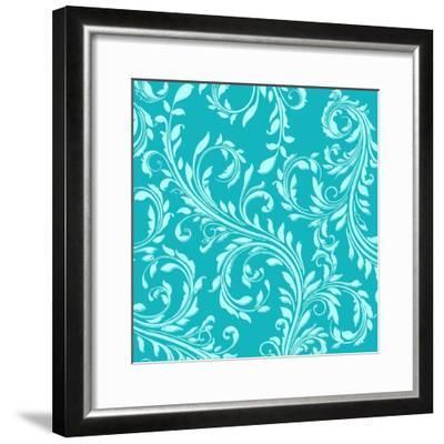 Teal Aqua Damask-Tina Lavoie-Framed Giclee Print